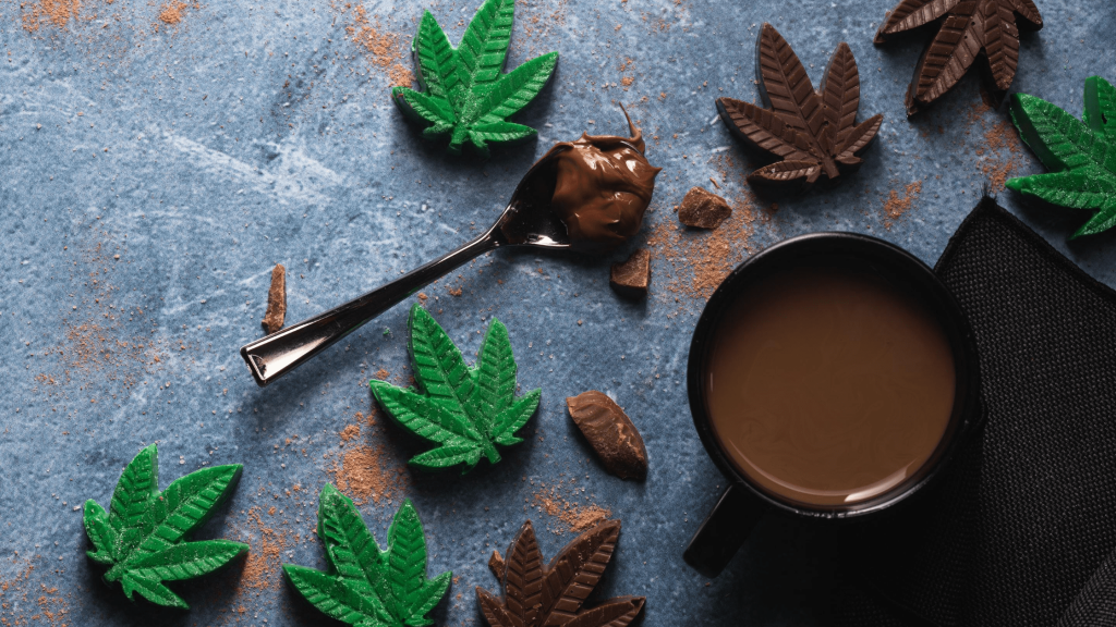 cannabis chocolate edibles containing thc in the shape of pot leaves