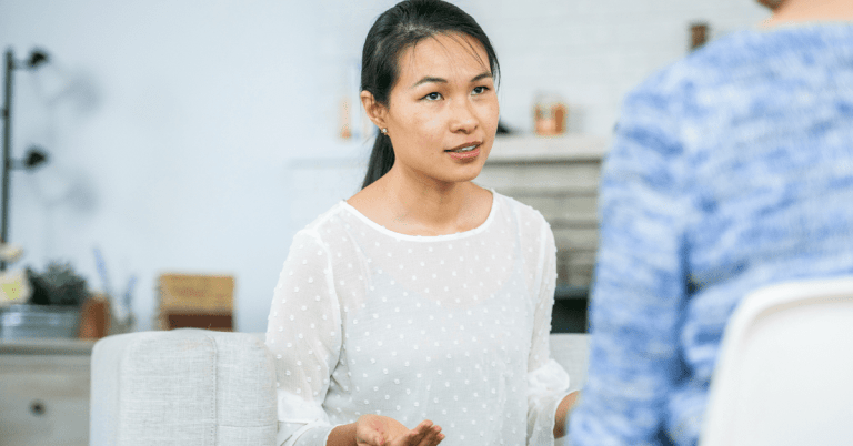 woman is conscious of language about mental health