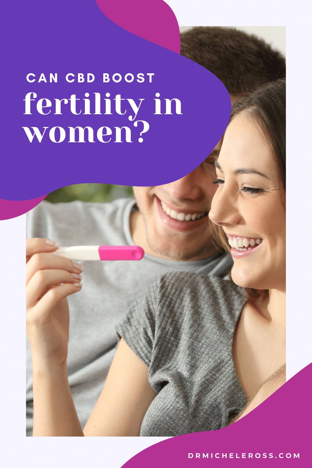 couple holding positive pregnancy test because they used cbd oil