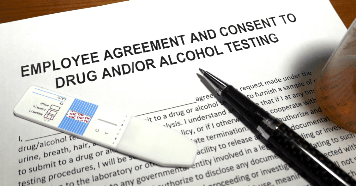 person reading cannabis drug testing employer agreeement