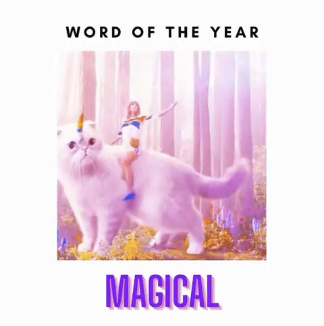 taylor swift on a unicorn cat is magical
