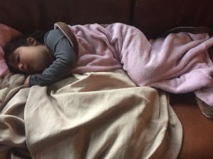 Febrile Babygirl napping on the couch