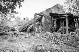 Nhà mệ Bướm sau khi bão đi qua Wrecked house of Mrs. Buom after storm