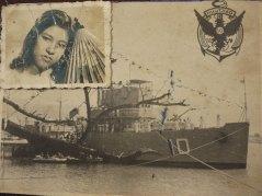 Bà Huỳnh Thị Sinh thời thiếu nữ và tấm hình chiến hạm HQ 10, nơi chồng bà, trung tá Ngụy Văn Thà, hạm trưởng, cùng nằm lại ở Hoàng Sa.