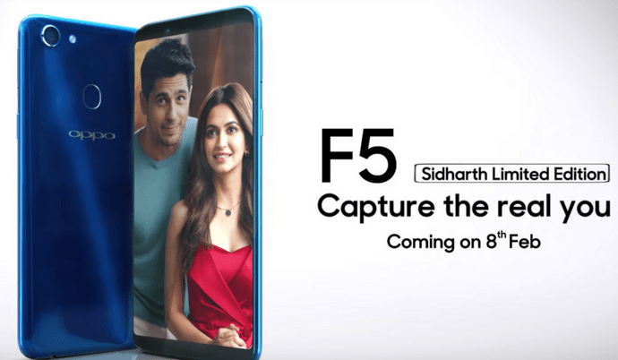 Oppo F5 Sidharth Limited Edition to launch today in Brilliant Blue