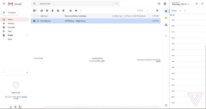 new design for the Gmail web interface