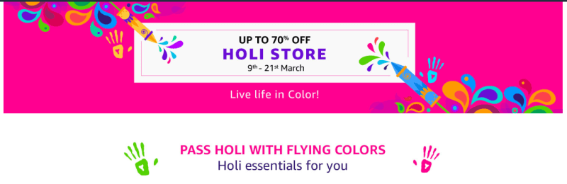 happy holi 2019 offers & deals