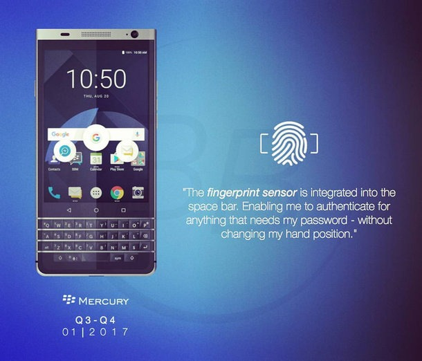 BlackBerry Mercury Render from Slide leaked