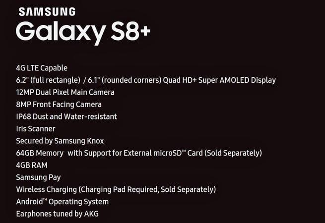Full Specs of Galaxy S8+