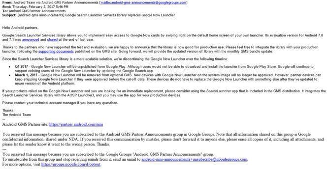 eMAIL REGARDING THE goOGLE NOW lAUNCHER
