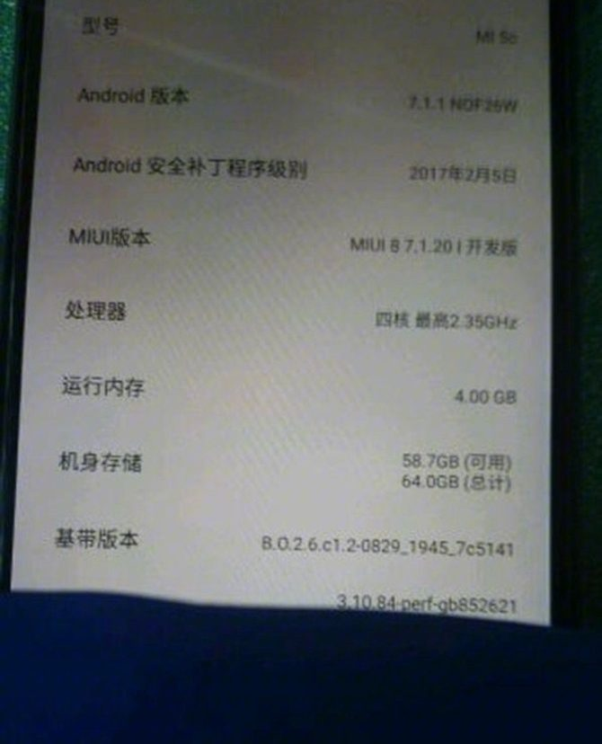 Screenshto of specs of Xiaomi Mi5C