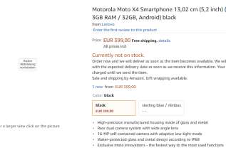 Moto X4 on Amazon