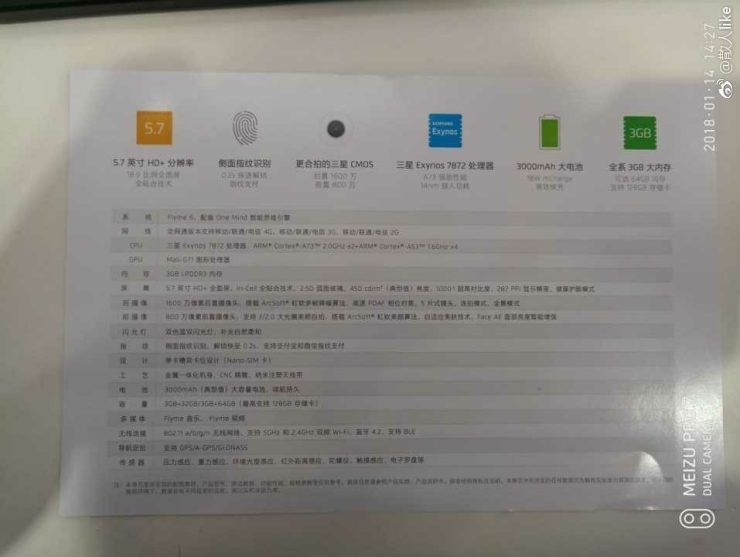 Meizu M6s specifications