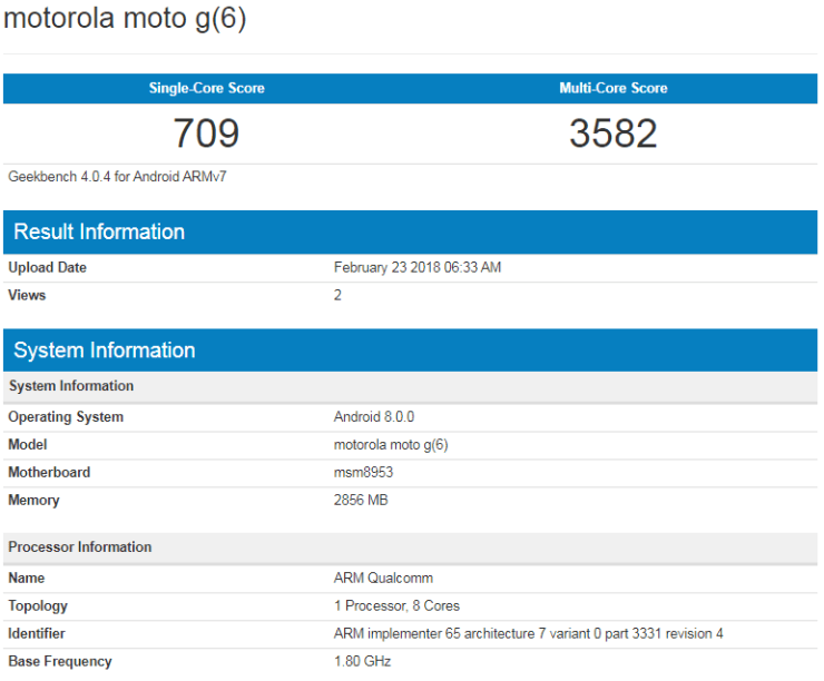 Moto G6 on Geekbench