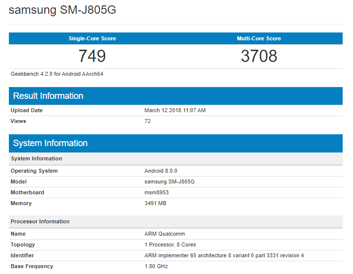 Samsung Galaxy J8+ on Geekbench