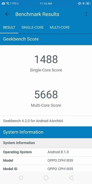 Helio P60 Geekbench score