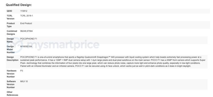 Xiaomi Pocophone F1 Bluetooth Certification