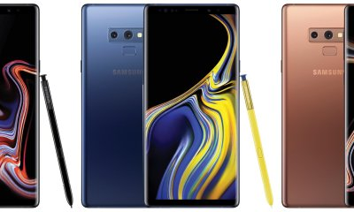 Samsung Galaxy Note 9 in Black, Blue and Brown