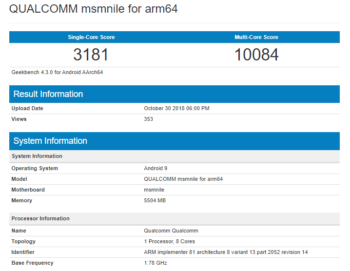 Check out the Geekbench scores of the Qualcomm Snapdragon 8150 1