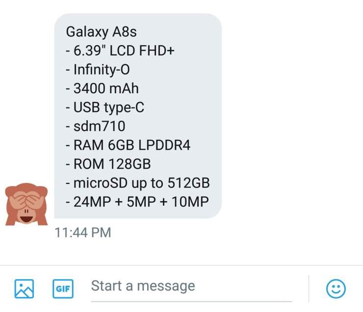 Alleged Samsung Galaxy A8s Specs