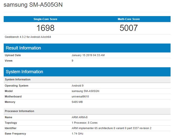 Samsung Galaxy A50 on Geekbench