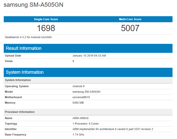Samsung Galaxy A50 on Geekbench