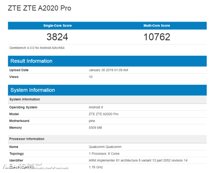 ZTE Axon 10 Pro on Geekbench