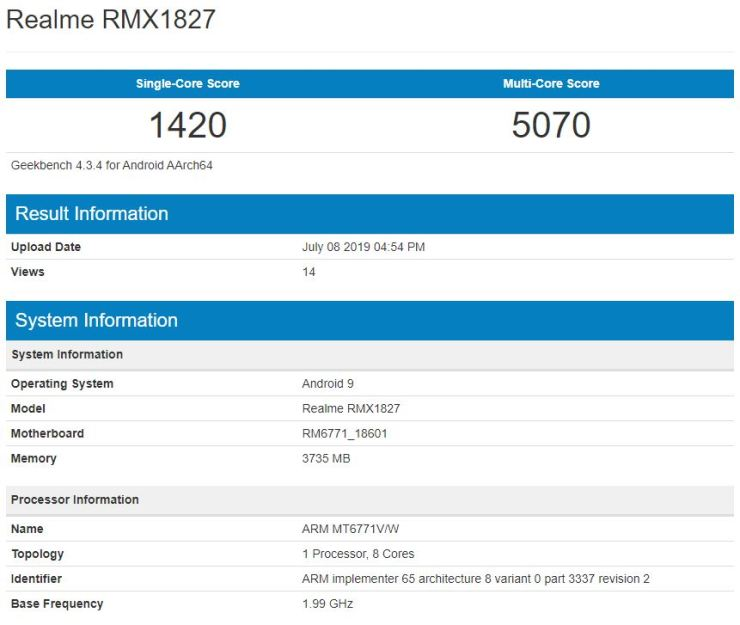 Realme 3i on Geekbench