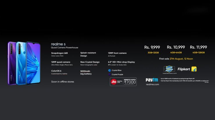 Realme 5 Pricing & Availability