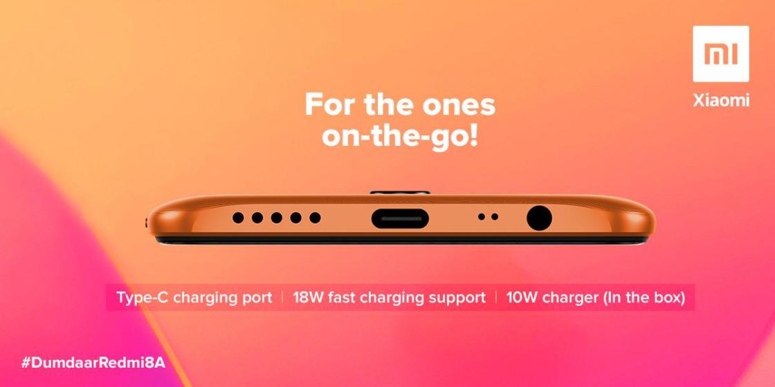 Redmi 8A has USB Type-C port