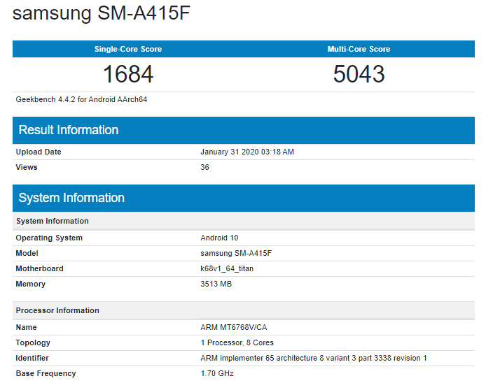 Samsung Galaxy A41 on Geekbench