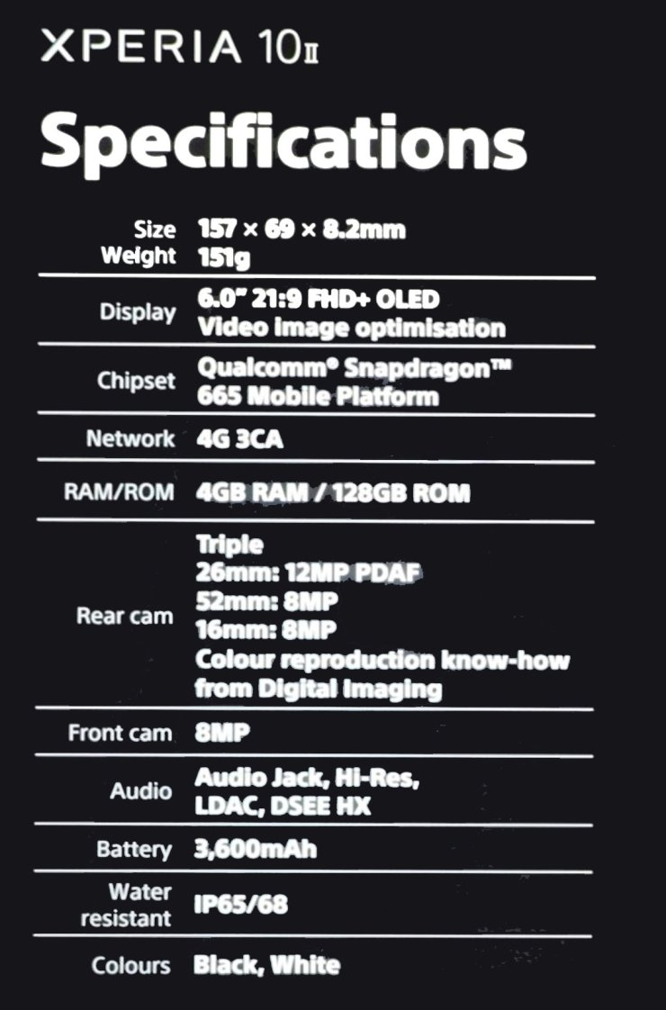 Sony Xperia 10 II Specifications