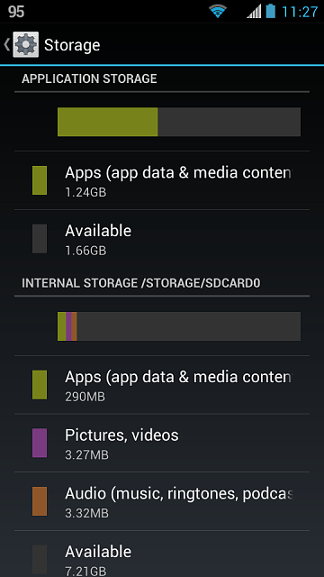 Contoh keterangan Internal Storage di Android