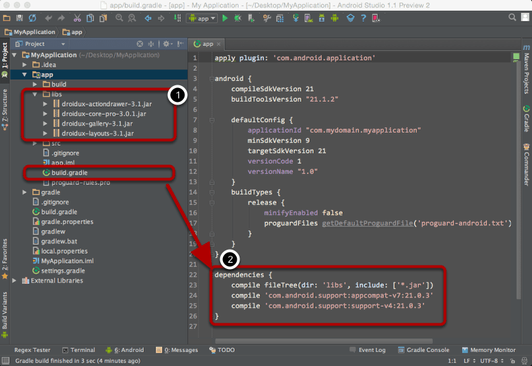 Using DroidUX  JAR Libraries in Android Studio