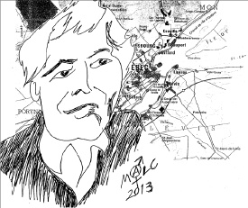 Dessin du visage de Jean Cimon, sur fond de carte routière du Québec. - par Malcolm Reid