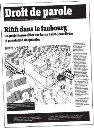 Page couverture du journal en janvier 2012 qui présentait un dessin montrant une mixture de condos et de coop dans le même bâtiment
