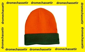 Bonnet de chasse reversible en acrylique orange fluo et vert