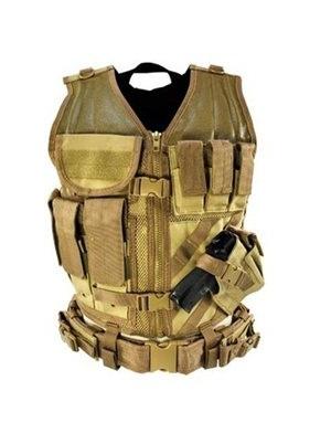 Gilet tactique avec holster et pochettes (marron clair