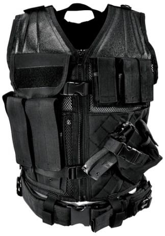 Gilet tactique Large avec holster et pochettes taille XL (noir)