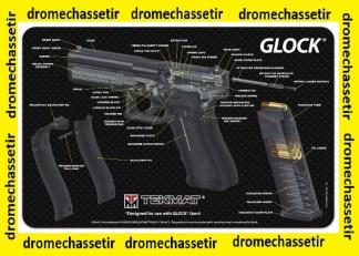 Tapis de nettoyage neoprene decor Pistolet GLOCK coupe didactique