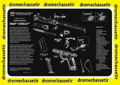 Tapis de nettoyage neoprene decor Pistolet Smith & Wesson Shield