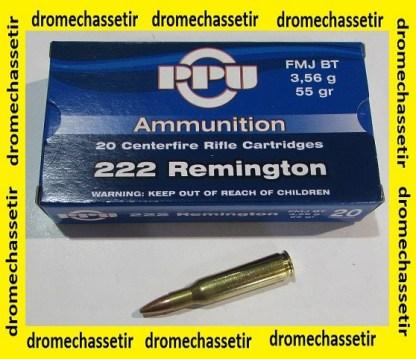 1 boite de 20 cartouches Partizan de calibre 222 Remington