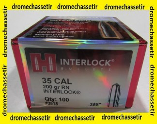 "BOITE DE 100 OGIVES HORNADY, CAL 35 .358"", 200 GRAINS INTERLOCK ROUND NOSE ,REF 3515"