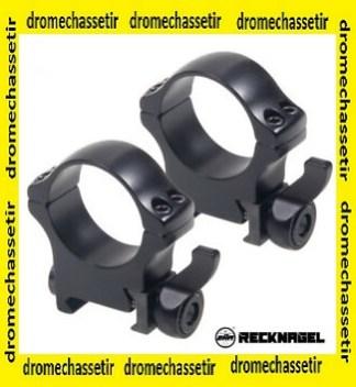 lot 2 anneaux pour rail 30mm a serrage levier Recknagel, extra haut, BH 22mm