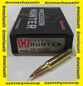 boite de 20 cartouches de calibre 338 win mag, Hornady Precision Hunter ELD-X 230 grains, 82222