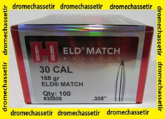 boite 100 Ogives HORNADY ELD-Match, 168grains, cal 308, ref 30506