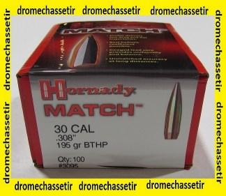 boite de 100 ogives Hornady Match BTHP cal 30 poids 195 grains ref 3095