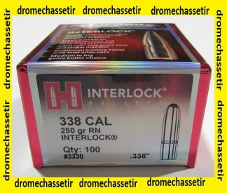 boite de 100 ogives Hornady INterlock SP cal 338 poids 250 grains RN ref 3330