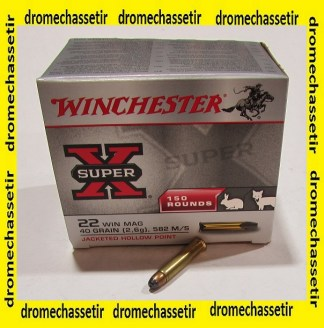 Boite 150 cartouches Winchester, 22 WMR, 40 grains Jacketed hollow point