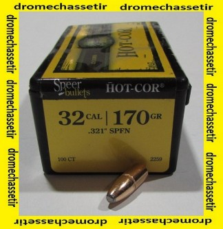 Boite 100 ogives Speer cal 8mm en 170 grains Hot Cor SP Flat nose, ref 2259